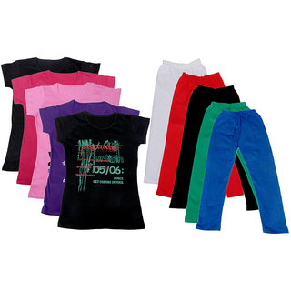 IndiWeaves Girls Cotton T-shirt With Leggings(Pack of 5 T-Shirts and 5 Leggings)_Red::White::Multicolored_30