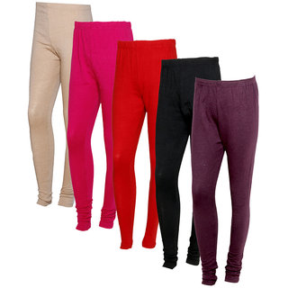 IndiWeaves Women Warm Wollen Lycra Legging (Pack of 5)Multicolor