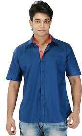 Relish Blue Button Down Half Sleeve Formal Shirt For Men's