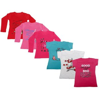 IndiWeaves Girls 3 Cotton Full Sleeves and 3 Half Sleeves Printed T-Shirt (Pack of 6)Multicolor