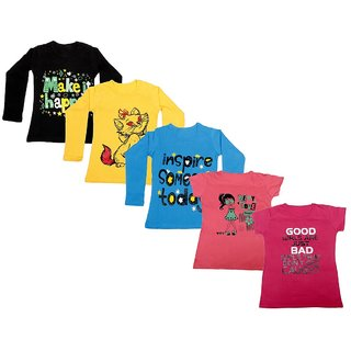 IndiWeaves Girls 3 Cotton Full Sleeves and 2 Half Sleeves Printed T-Shirt (Pack of 5)Multicolor