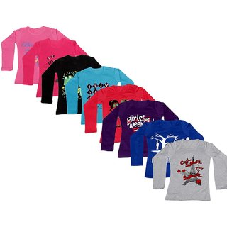 IndiWeaves Girls Cotton Full Sleeve Printed T-Shirt(Pack of 8 T-Shirts)Multicolor