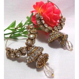 Golden white stone double jhumki earrings