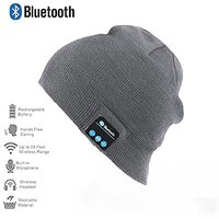 Happy-top Bluetooth Music Soft Warm Beanie Hat Cap with Stereo Headphone Headset Speaker Wireless Mic Hands-free for Men Women Gift (Light Grey)