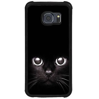 Fuson Black Designer Phone Back Cover Samsung Galaxy S6 G920I (Cat Staring From The Dark)