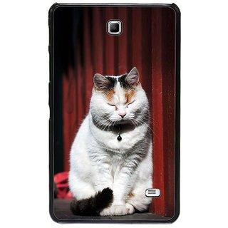 Fuson Black Designer Phone Back Cover Samsung Galaxy Tab 4 (The Showman Cat)