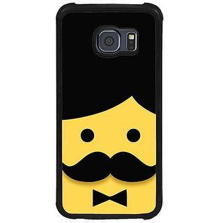 Fuson Black Designer Phone Back Cover Samsung Galaxy S6 G920I (Face Of Man With Moustache)