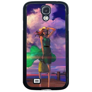 Fuson Multi Designer Phone Back Cover Samsung Galaxy S4 I9500 (Girl On A Windy Day)