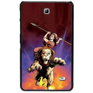 Fuson Red Designer Phone Back Cover Samsung Galaxy Tab 4 (Goddess Durga Ready To Attack)