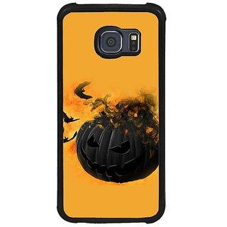 Fuson Orange Designer Phone Back Cover Samsung Galaxy S6 G920I (The Black Halloween Lantern)