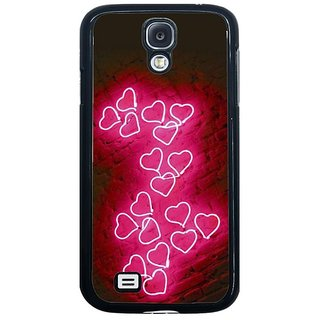 Fuson Pink Designer Phone Back Cover Samsung Galaxy S4 I9500 (Trail Of Hearts)