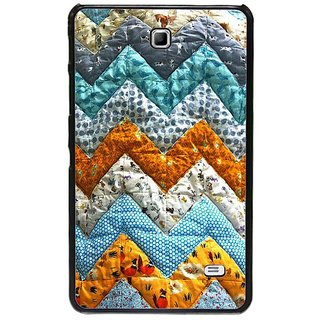 Fuson Blue Designer Phone Back Cover Samsung Galaxy Tab 4 (Zigzag Design Made Of Cloth)