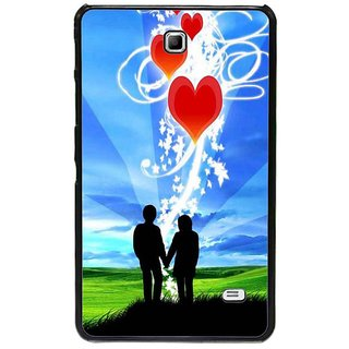 Fuson Blue Designer Phone Back Cover Samsung Galaxy Tab 4 (A Couple In Deep Love)