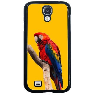 Fuson Yellow Designer Phone Back Cover Samsung Galaxy S4 I9500 (Parrot Looking From The Branch)