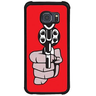 Fuson Red Designer Phone Back Cover Samsung Galaxy S6 G920I (Shooting Out Love From Guns)