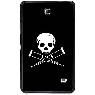 Fuson Black Designer Phone Back Cover Samsung Galaxy Tab 4 (Skeleton With Crutches)