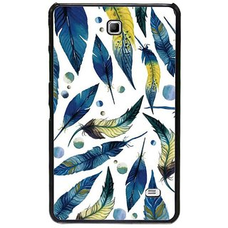 Fuson Blue Designer Phone Back Cover Samsung Galaxy Tab 4 (Feathers And Leaves)