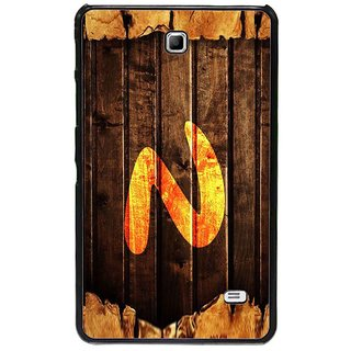 Fuson Brown Designer Phone Back Cover Samsung Galaxy Tab 4 (Letter N Monogram On Wood)
