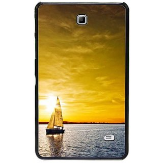 Fuson Golden Designer Phone Back Cover Samsung Galaxy Tab 4 (Boat Sailing In Sunset Ocean)