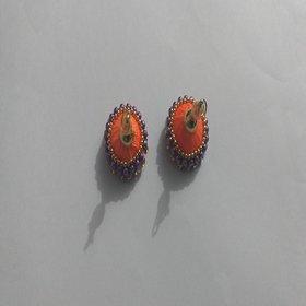 Elegant Silk Thread Ear Ring in Orange Colour