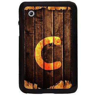 Fuson Brown Designer Phone Back Cover Samsung Galaxy Tab 2 (Letter C Marked On Wood)