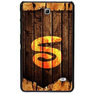 Fuson Brown Designer Phone Back Cover Samsung Galaxy Tab 4 (Letter S Carved On Wood)