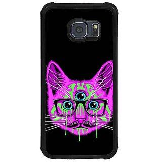 Fuson Purple Designer Phone Back Cover Samsung Galaxy S6 G920I (Three Eyed Cat With Glasses)