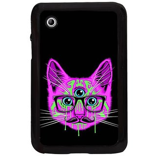 Fuson Purple Designer Phone Back Cover Samsung Galaxy Tab 2 (Three Eyed Cat With Glasses)