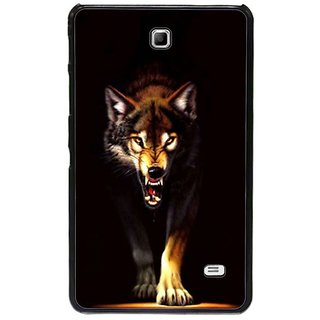 Fuson Brown Designer Phone Back Cover Samsung Galaxy Tab 4 (Angry Wolf Ready To Attack)