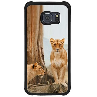 Fuson Brown Designer Phone Back Cover Samsung Galaxy S6 G920I (Lions On The Prowl)