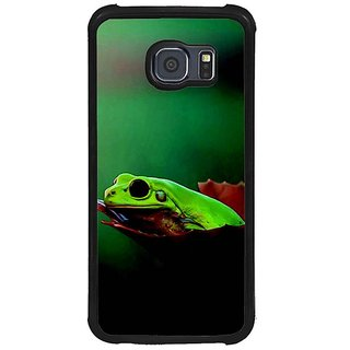 Fuson Green Designer Phone Back Cover Samsung Galaxy S6 G920I (Peeping Lizard From The Hole)