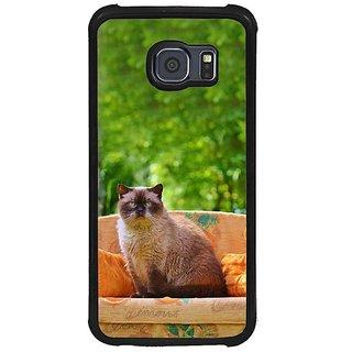 Fuson Multi Designer Phone Back Cover Samsung Galaxy S6 G920I (Cat Sitting On A Sofa)
