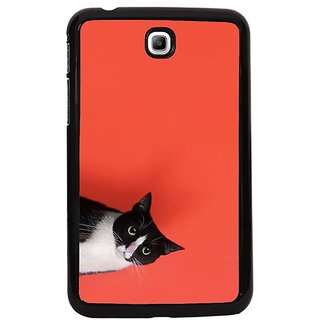 Fuson Pink Designer Phone Back Cover Samsung Galaxy Tab 3 (Cat Peeping Out From Frame)