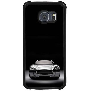 Fuson Black Designer Phone Back Cover Samsung Galaxy S6 G920I (Front View Of The Car)