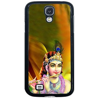 Fuson Golden Designer Phone Back Cover Samsung Galaxy S4 I9500 (Krishna With A Peacock Feather)