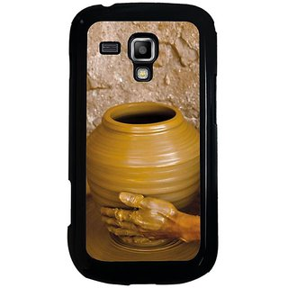 Fuson Brown Designer Phone Back Cover Samsung Galaxy S Duos S7562 (Making Clay Pots On Wheel)