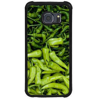 Fuson Green Designer Phone Back Cover Samsung Galaxy S6 G920I (Green Chillies All Around)