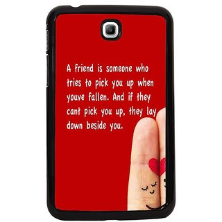 Fuson Red Designer Phone Back Cover Samsung Galaxy Tab 3 (Friends Who Pick You Up)