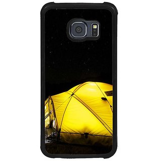 Fuson Black Designer Phone Back Cover Samsung Galaxy S6 G920I (A Tent Under The Night Sky)