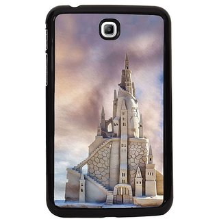 Fuson White Designer Phone Back Cover Samsung Galaxy Tab 3 (Elegant White Marble Castle Illustration)