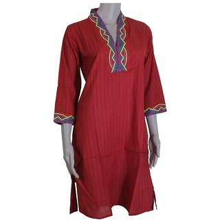Saanjha Lifestyle Red High Neck Kurta With Multicolored Embroidery