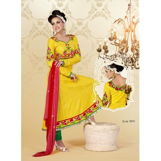 F.A.S.H Yellow Cotton Embroided Suit