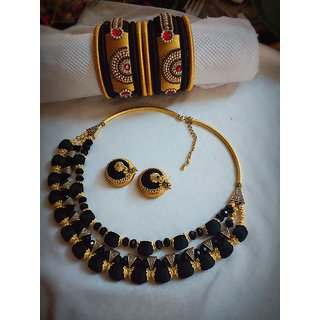 Mira Fashions Silk Thread Neck Set With Earrings And Bangles Black Gold