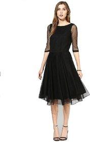 Klick2Style Black Plain A Line Dress Dress For Women