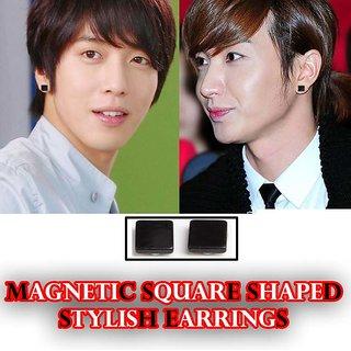 Magnetic Ear Stud Square Black For Men Women Unisex Fashion Stylish Earing 1 Pair CODEDz-3355