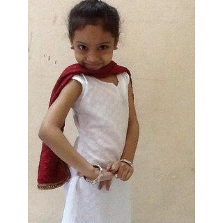 Latest child girls net dress - Kids fashion Wear White Colour