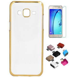 Electroplated Golden Chrome Back Cover with HD Tempered Glass and OTG Adaptor for Samsung Galaxy J1
