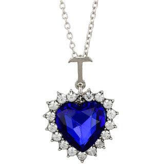 GoldNera Valentine's Day Special TITANIC HEART OF OCEAN BLUESTONE PENDANT WITH CHAIN