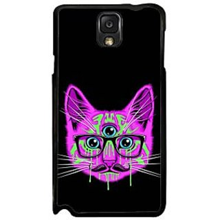 Fuson Purple Designer Phone Back Case Cover Samsung Galaxy Note 3 (Three Eyed Cat With Glasses)