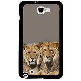 Fuson Gray Designer Phone Back Case Cover Samsung Galaxy Note 2 (Pride Of Lions)